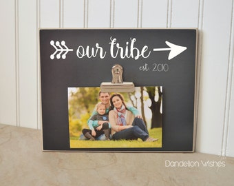 Our Tribe; Personalized Photo Frame; Family Gift, Home Decor Frame, Christmas Gift For Family, Family Photo Frame, Family Portraits Frame