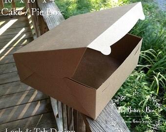 "10"" x 10"" x 4"" "" Kraft Brown/Brown Bakery Box Without  Window - Lock & Tab Box With Lid  ~ Bakery Box • Wedding Cake •  Pie Box • Cake Box"