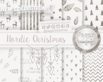 White Christmas Digital paper Patterns christmas tree snow flurry white gold silver beige bakgrounds for blog scrapbooking cards