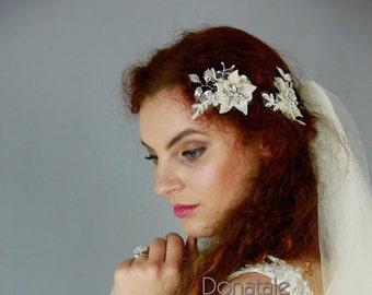 ON SALE Wedding Hair Flower, Wedding Hair Piece, Bridal Headpiece, Bridal hair Flowers, Bridal Hair Piece, Opal headpiece,Bridal hair clip-A