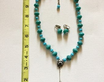 Turquoise Rosary Style Necklace and Clip on Earrings Set