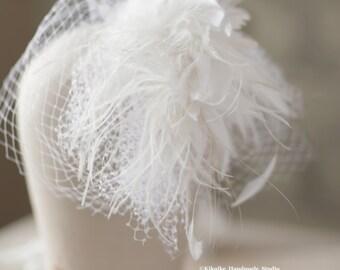 birdcage veil with feather ,Bridal bandeau veil, tulle mini veil ,  tulle bandeau veil , blusher veil
