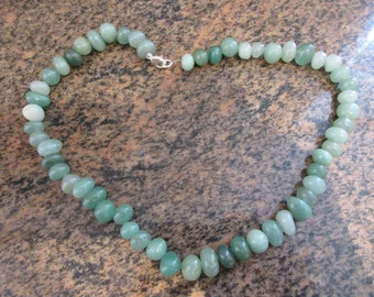 Vintage 17 Inch Aventurine Gemstone Necklace - Sterling Silver On Copper Clasp