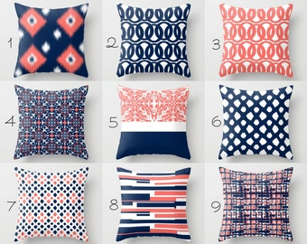 Throw Pillow Covers, Navy Pillow Covers, Coral Pillow Covers Contemporary Decor, Throw Pillow Covers (M28) Decorative Pillows