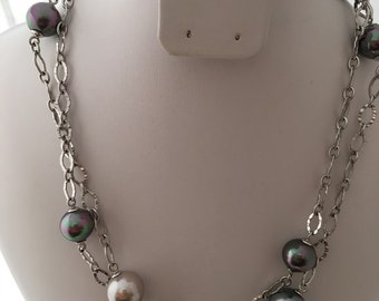 Haute Couture Gray Pearls 925 Sterling Silver Diamond Cut Links Designer M  Necklace Station Faux Multi Color Pearls