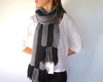 bufanda de lana para hombre bufanda negra y gris hecha a mano bufanda con
