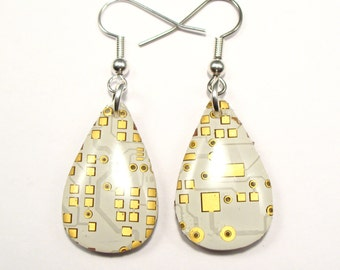 Circuit Board Earrings Gold White Teardrop Recycled Jewelry PCB Techie Silver Jewellery Geek Motherboard Computer Chip Gift for Her Techie