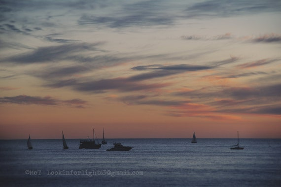 Ocean Sunset Photo, California Sunset Art, Dana Point Harbor Boats, Doheny Beach Photo Art, Pink Orange Sky clouds, Pacific Ocean Photo