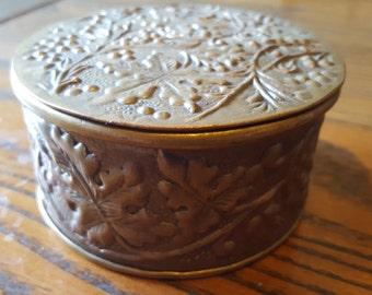 Repousse brass, (copper? ) round trinket box.