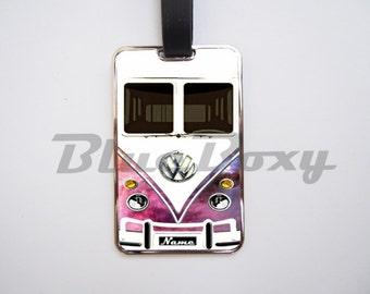 Mini Bus Nebula Luggage Tag, Personalized Luggage Tag
