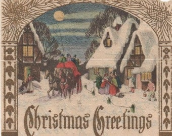 Christmas Greetings, parchment like paper, written on reverse, c1940s