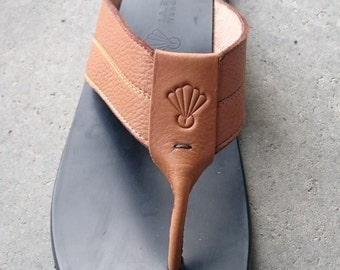 Tan Leather Sandals 'Y' front 'Ologun'.