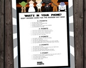 star wars baby shower games, what's in your phone, star wars baby shower game, star wars theme baby shower, phone game, instant download