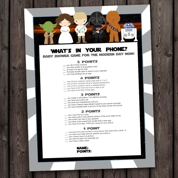 Star Wars Baby Shower Games, Whatu0027s In Your Phone, Star Wars Baby Shower  Game, Star Wars Theme Baby Shower, Phone Game, Instant Download