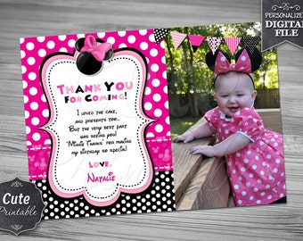 Minnie Mouse Thank you card, Minnie, Thank you card, Minnie Pink Thank you, Minnie Birthday, Polka Dot