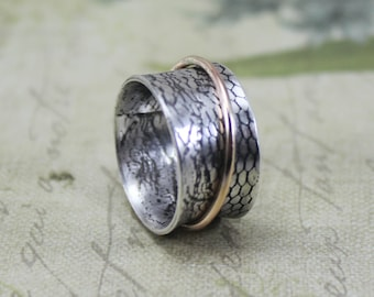 Silver and Gold Spinner Ring - 14K Yellow Gold Meditation Ring