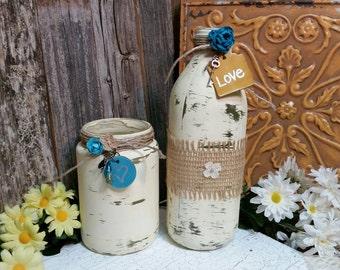Wedding Centerpieces, Shabby Chic Jars, Ivory, Glass Jars, Glass Wedding Jars, RobinsStudio, Shabby Chic, Country Wedding, Wedding