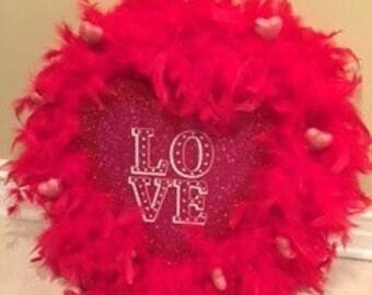 Valentine's Feather Wreath
