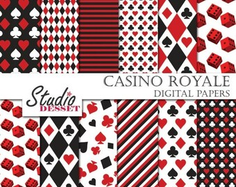 30% OFF SALE Casino Digital Papers, Poker Playing Card Paper in black and red, Gambling Backgrounds A004