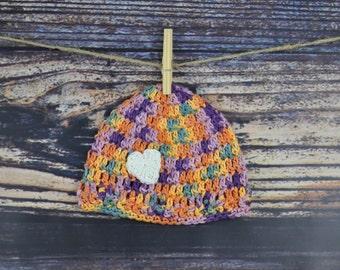 Baby Hat - Heart - Purple, Orange, Yellow, Green
