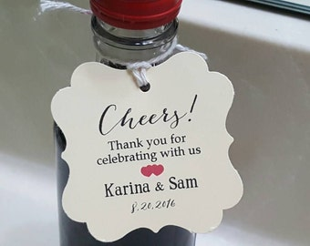"""Personalized Favor Tags 2x2"""", Wedding tags, Thank You tags, Favor tags, Gift tags, Bridal Shower Favor Tags, cheers tag, wine favor tags"""