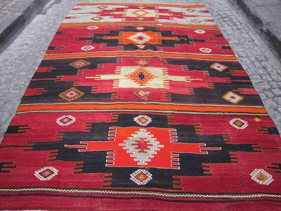 Vintage,Free shipping,Turkish Kilim Rug,Kilim,Home decor,Home Living,Decorative Kilim Rug,Handwoven kilim rug, 9'8x6'8  feet(295x204)cm.