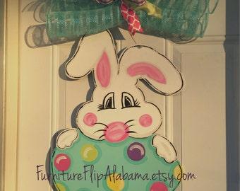 Easter wooden door hanger,easter door decorations,easter bunny egg door hanger,easter wreath,ready to ship