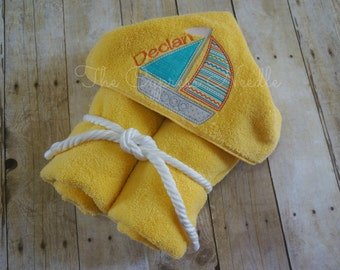 Custom Personalized Yellow and Blue Sailboat Hooded Towel