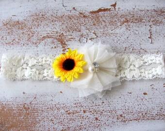 Ivory Lace Sunflower Headband - Country Chic Baby Headband