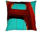 Golden Gate Printed Throw Pillow. Cushion Cover, Apartment Decor, Dorm Decor, Photographic Throw Pillow, Sofa Cushion, San Francisco Pillow