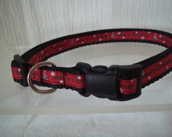 """Dog Christmas Collar, 5/8"""" Wide, Adjusts from 15"""" to 24"""""""