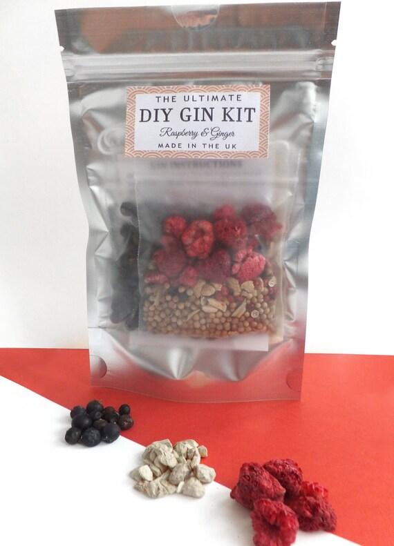 Raspberry & Ginger DIY Homemade Gin Kit Unique by DIYKitsUK