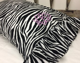 Zebra Print Pillowcase with Ruffle