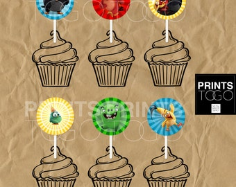 Angry Birds Cupcake topper, Birthday Party Supplies, Angry Birds, Cupcake toppers, Birthday Decoration, Instant Download, Printable
