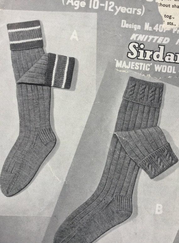 Vintage 1950s knitting pattern childrens socks age 10-12