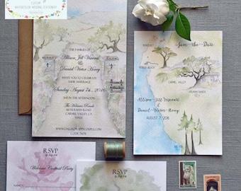 Wedding Invitation Suite - Watercolor Invitations - Big Sur Wedding - California Wedding - Coastal Wedding