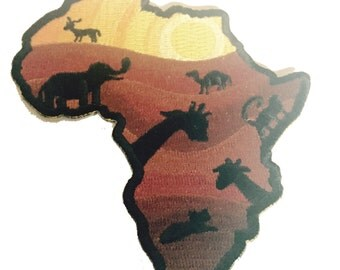 Into to Africa Wild Animals - Novelty Iron On Patch Applique HS P - BS - 0043