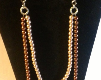 Brown & Pink Pearl Necklace