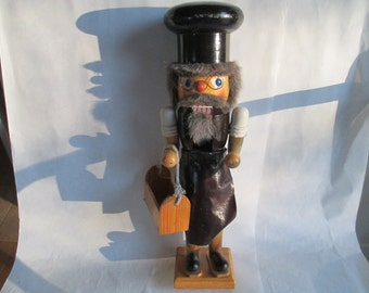 Nutcrackers, Antique Nutcracker - Very Rare Cobbler - Carpenter with Tool Box - One of a Collection of Three - 14 Inches High, FREE SHIPPING