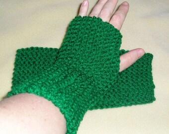 Hunter Green Mitts, winter accessories, knit, winter mitts, fingerless gloves, hand warmers, handmade, driving gloves