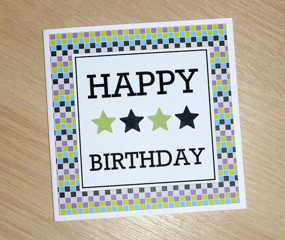 Handmade Birthday Cards For Guys 18 ~ Items similar to modern male happy birthday card geo square print boys teenagers dads