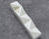 "Modern Mezuzah case,Contemporary Judaica,White with gold Shin, Jewish wedding housewarming gift fits a 4"" scroll, Judaica art,Made in Israel"