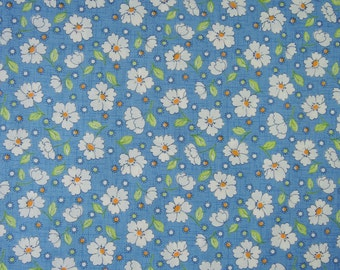 "Fat Quarter of 2015 Lecien Retro 30's Daisies Fabric in Blue. Approx. 18"" x 22"" Made in Japan"