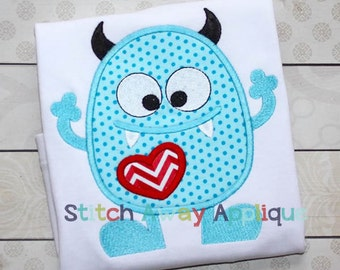 Love Monster Valentines Day Machine Applique Design