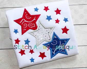 Star Trio Patriotic Fourth of July Machine Applique Design