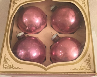 Shiny Brite Christmas Ornaments - Set of 4 with Box - Pink or Dusty Rose