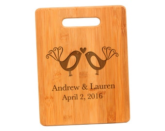 Lovebirds Cutting Board - Custom Wood Cutting Board Wedding Gift for Bride & Groom