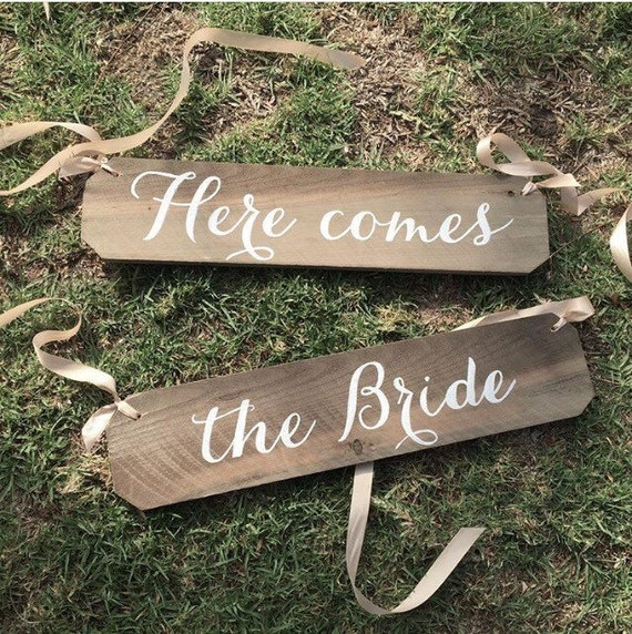 Here Comes The Bride Sign: Rustic Here Comes The Bride Signs Wood Wedding Sign