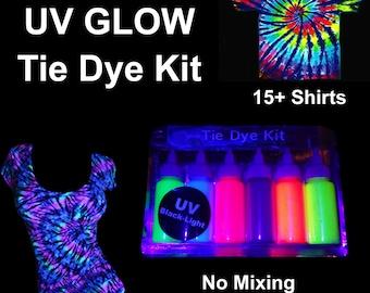 "Uv Glow Tie Dye Kit neon Tie dye Tye Dye Up 20+ Shirts UV Tulip & UV Neon Artistic Den  "" Free Postage """