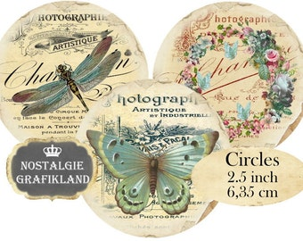 French Ephemera Butterflies Dragonfly Photography Circles 2.5 inch Instant Download digital collage sheet C138